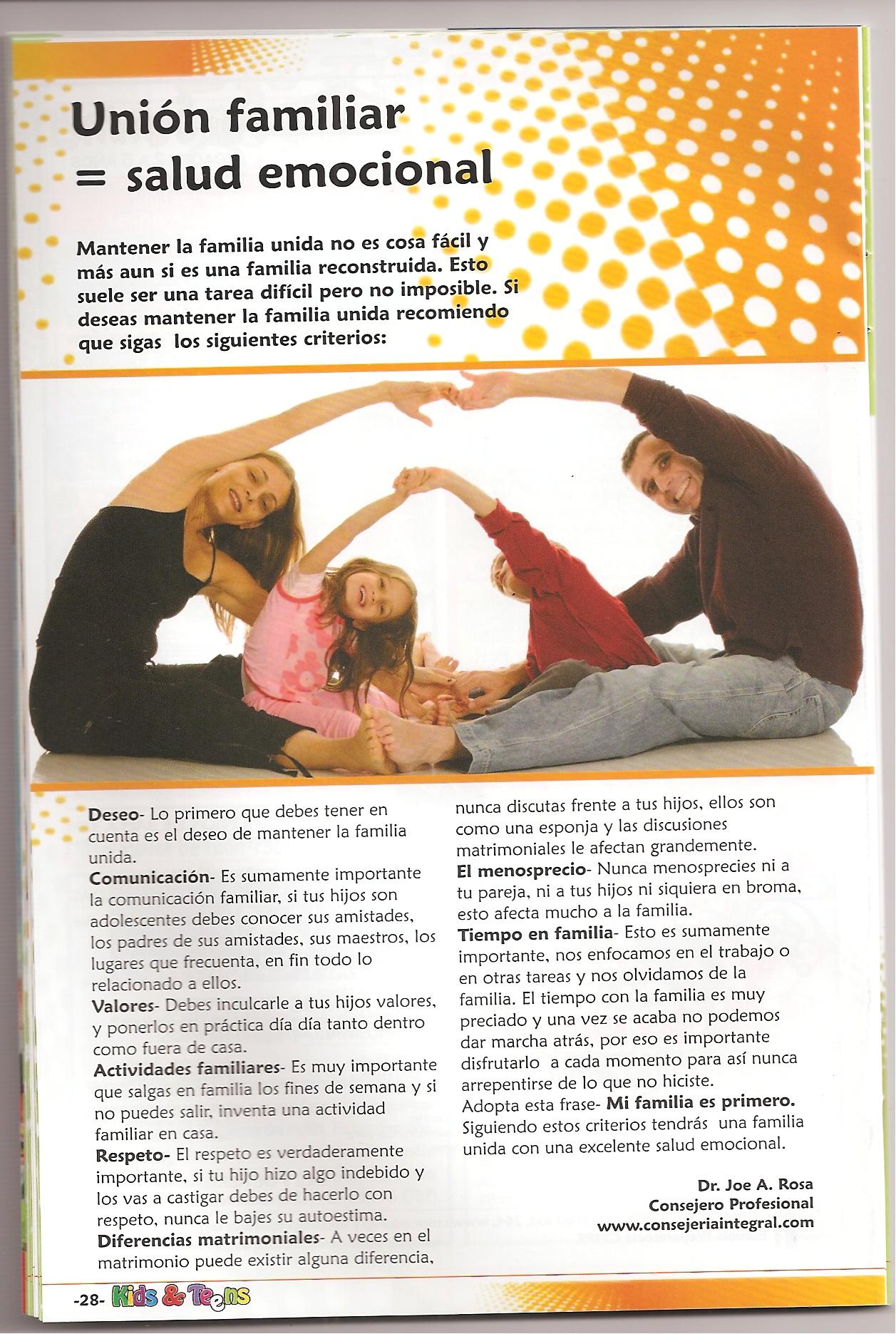 Unión familiar = a salud emocional